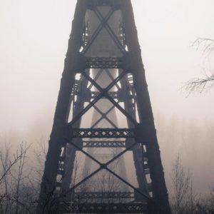 Doube's Trestle Bridge in Fog - Justen Soule