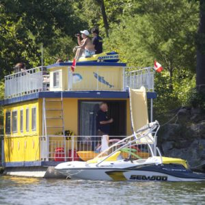 Houseboat in the kawartha lakes