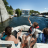 Boats locking through the Trent-Severn Waterway