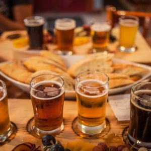 Flights of craft beer at the Canoe & Paddle Pub in Lakefield Ontario