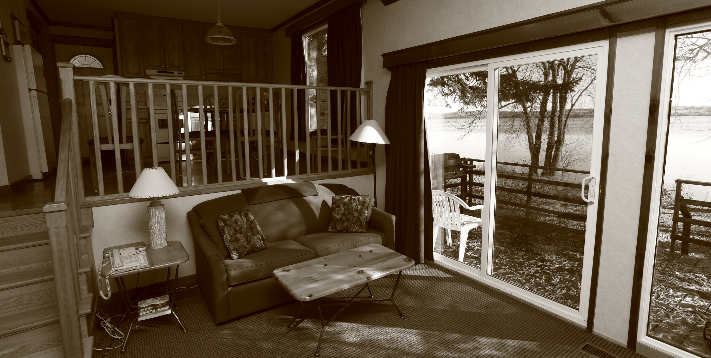 The interior of a cottage at Elmhirst's Resort