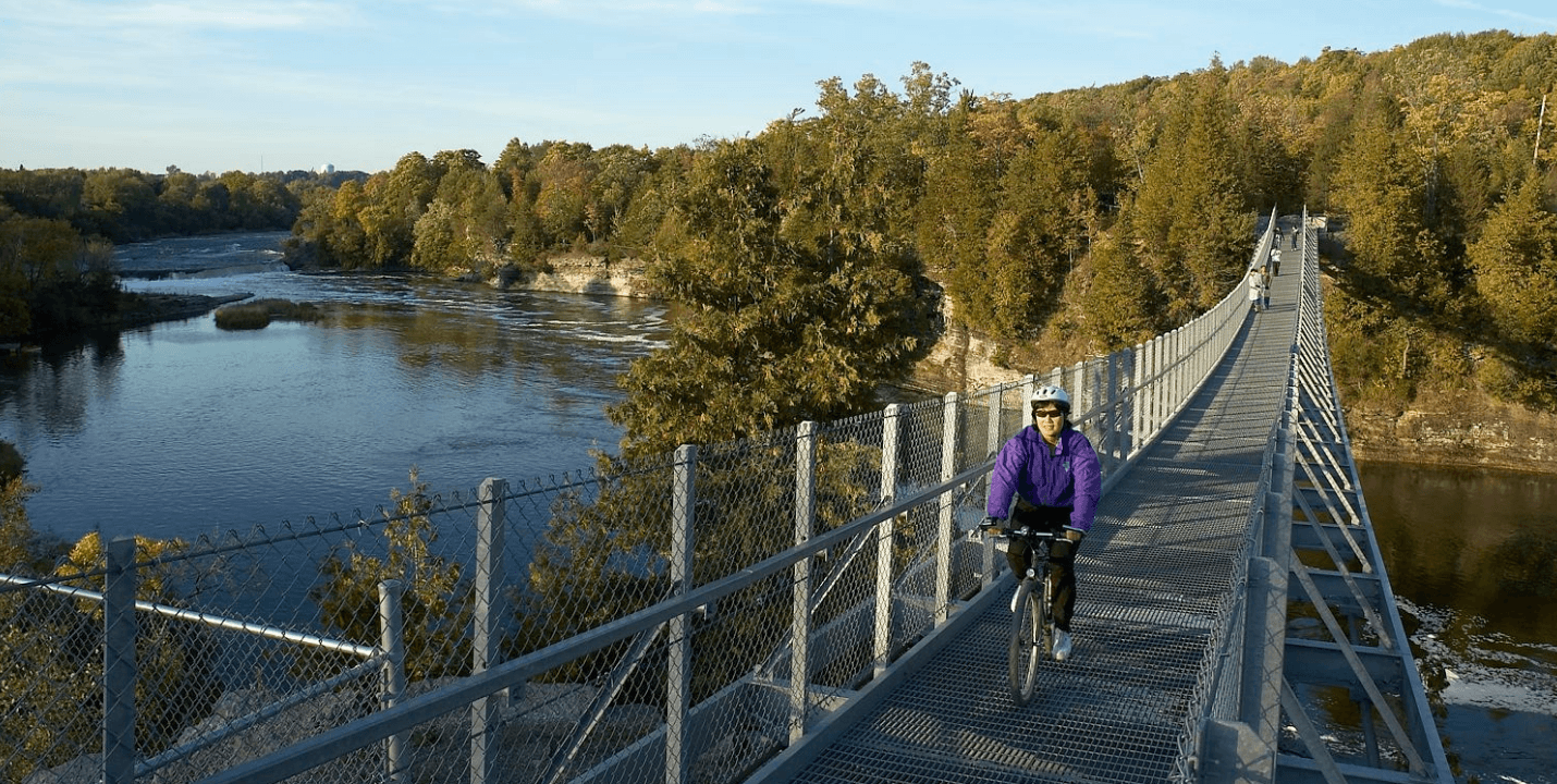 Cycling the Ranney Gorge Suspension Bridge