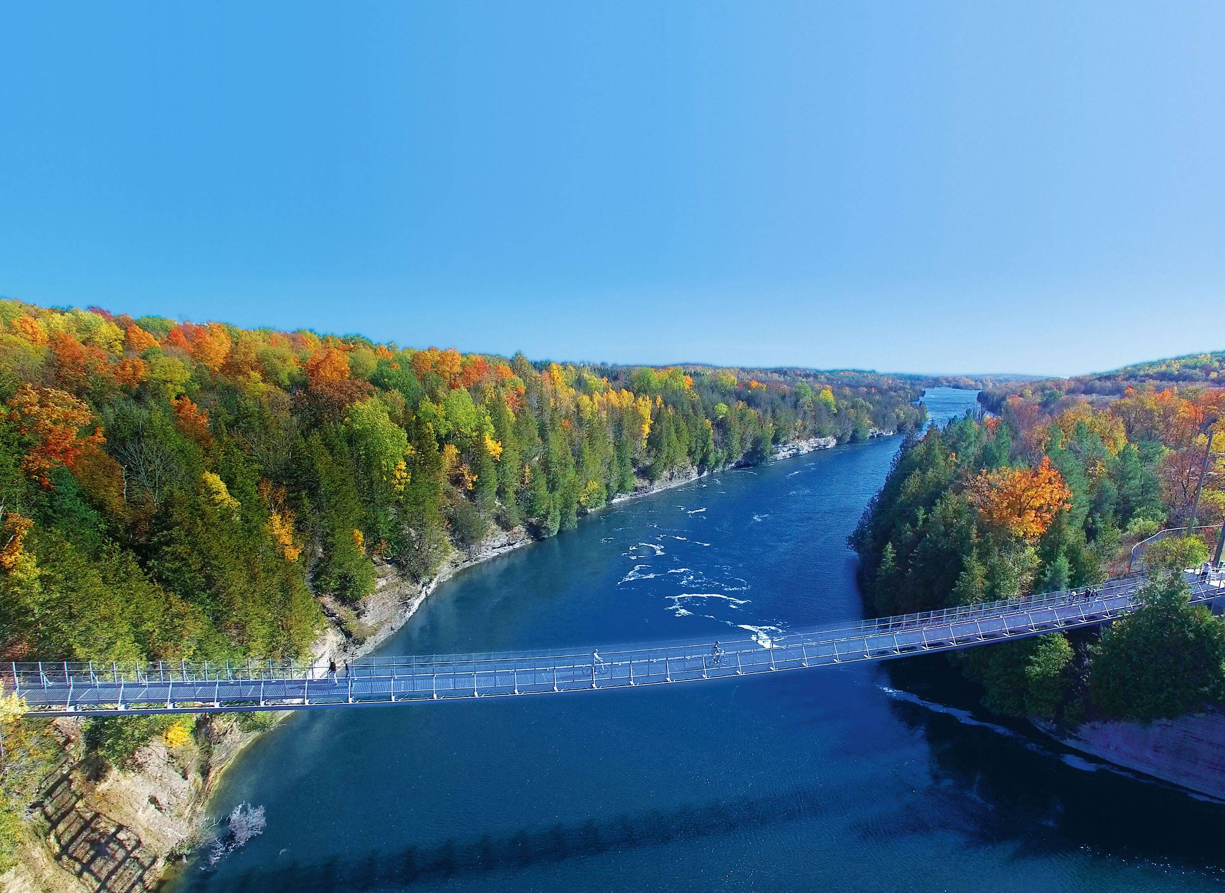 Ranney Gorge Suspension Bridge in Campbellford in late summer