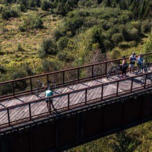 Cycling Doube's Trestle Bridge on the Kawartha Trans Canada Trail