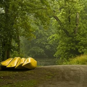 Canoes at a boat ramp