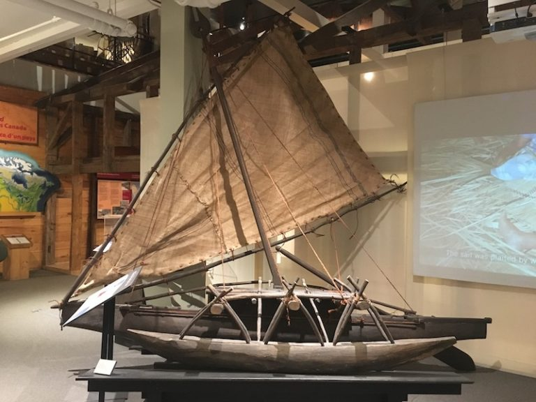 An outrigger sailing canoe at The Canadian Canoe Museum