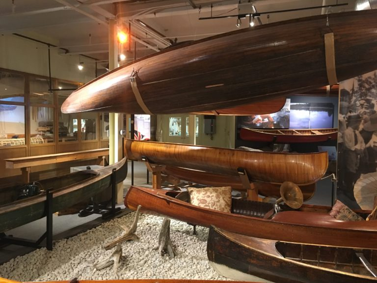 Wooden canoe display at the Canadian Canoe Museum