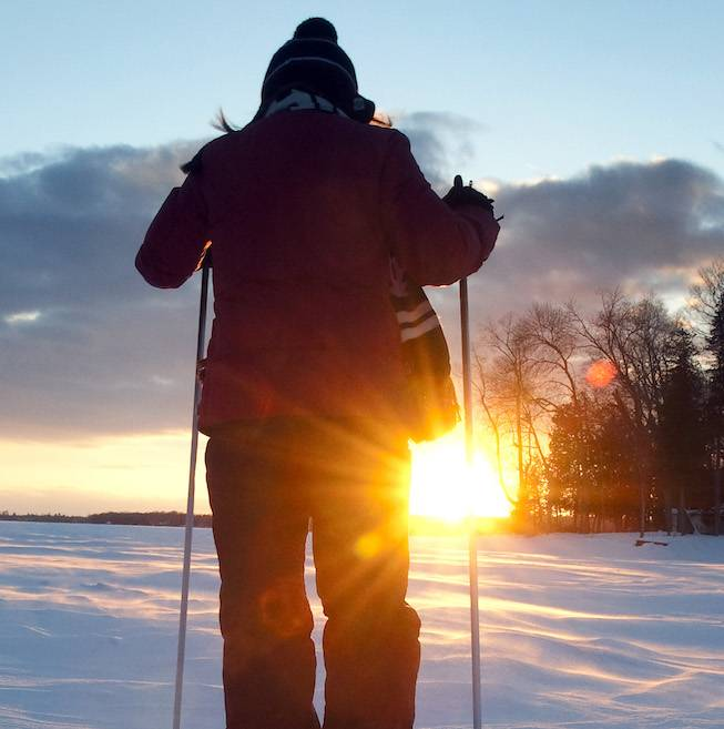 Cross Country Skiing on Pigeon Lake near Bobcaygeon Ont