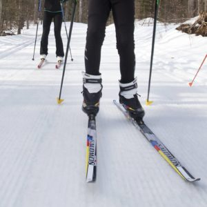 Cross country skiers at Kawartha Nordic Ski Club on Hwy 28 north of Burleigh Falls