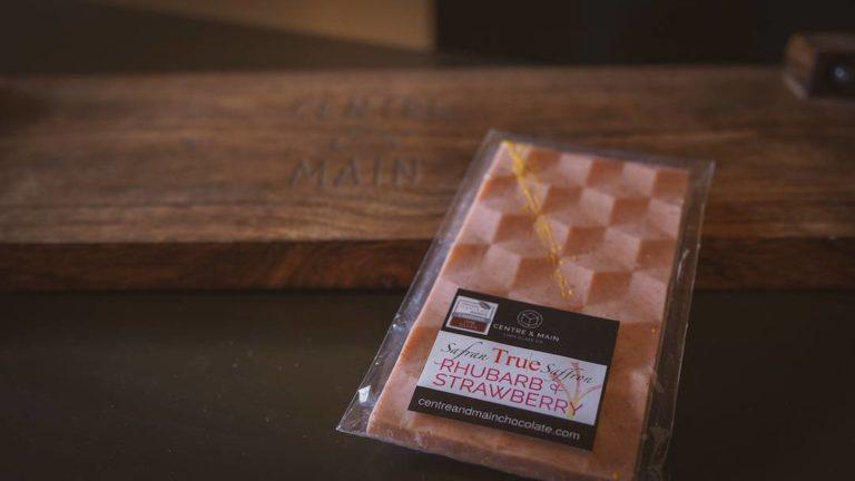 Centre & Main Chocolate Co.'s strawberry-rhubarb-saffron bar