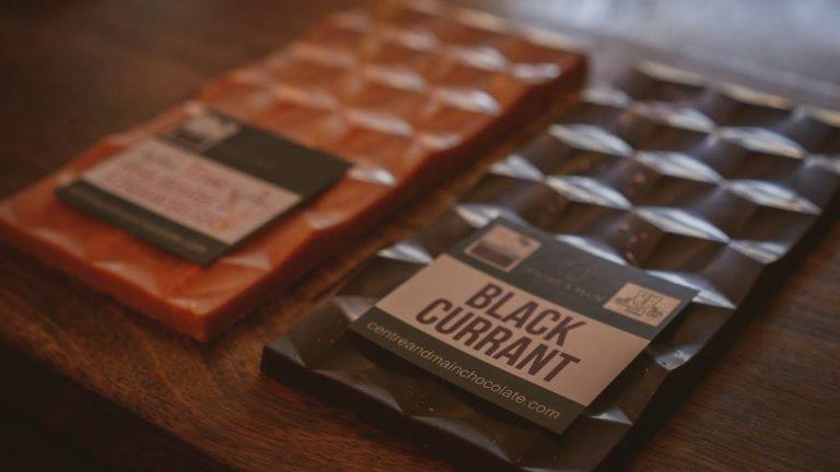 Black currant dark chocolate bar from Centre & Main Chocolate Co.