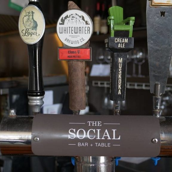 Draft beer selection at The Social Bar & Table, Port Hope