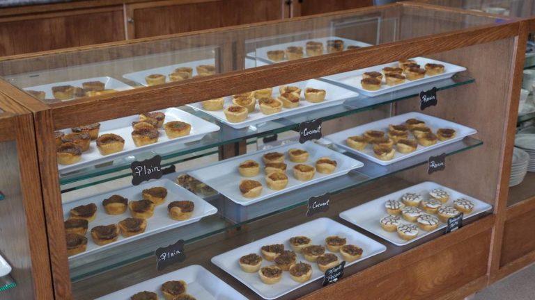 Butter tart display case at Kawartha Shortbread