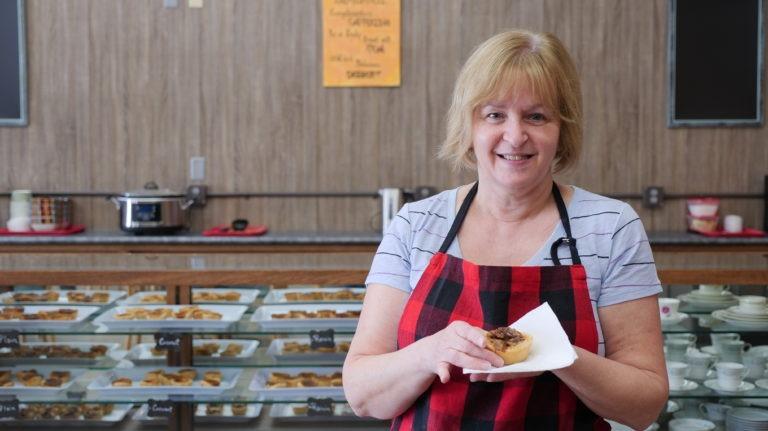 Karen Reid at Kawartha Shortbread holds a butter tart