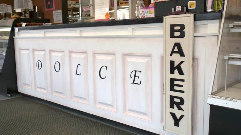 The front counter at Dolce bakery, Fenelon Falls