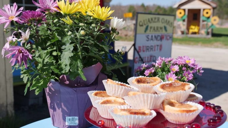 Butter tarts on a platter at Quaker Oaks Farm