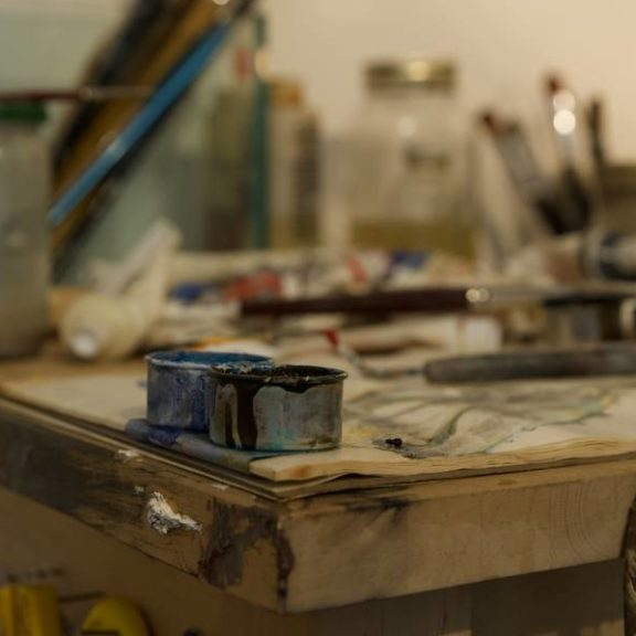 Desk in a painter's studio