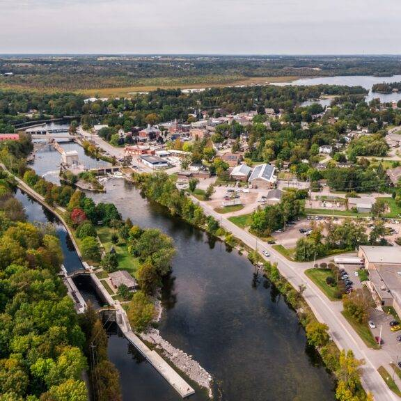 Aerial view of the Trent-Severn Waterway near Lakefield