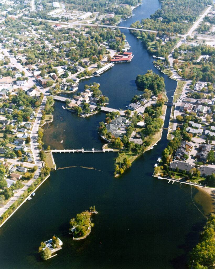 Aerial view of the Trent-Severn Waterway in summer