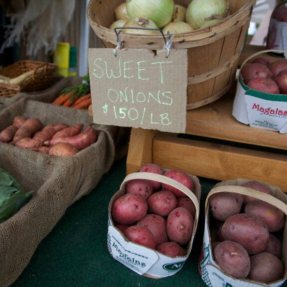 Closeup of produce at a farmers' market in fall