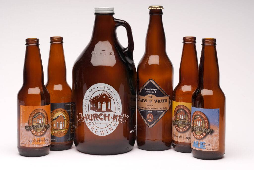 Selection of Church-Key beers against a white background