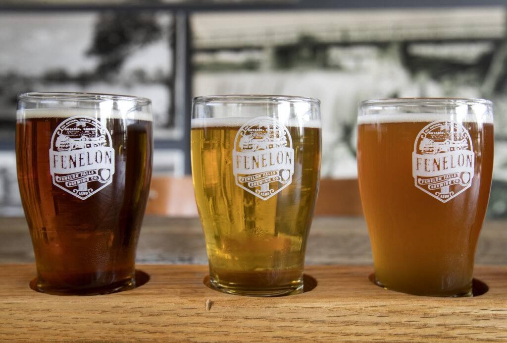 Flight of Fenelon Falls brewery beers