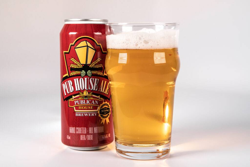 A can of Pub House Ale beside a poured pint