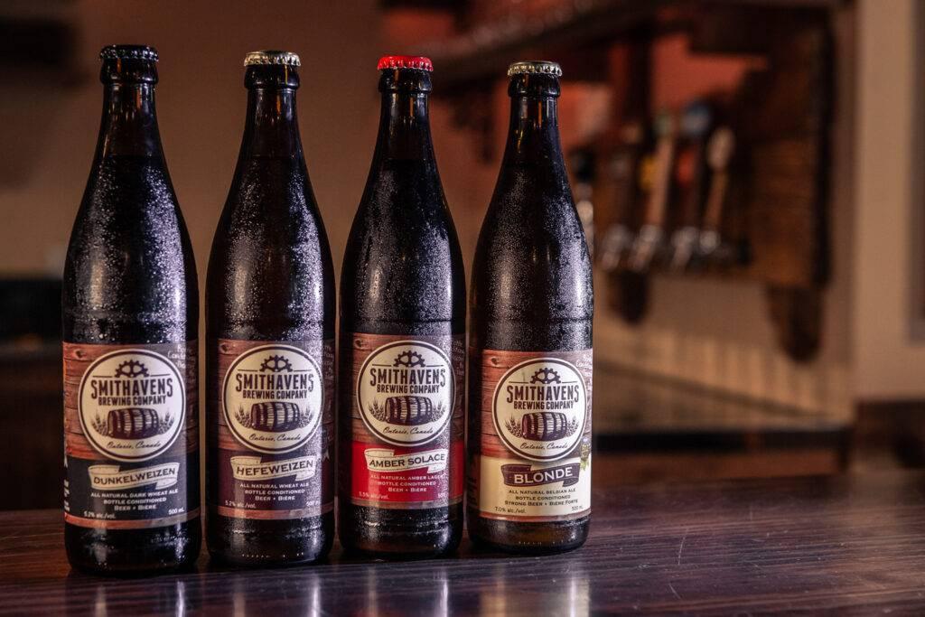 Four bottles of Smithavens beer