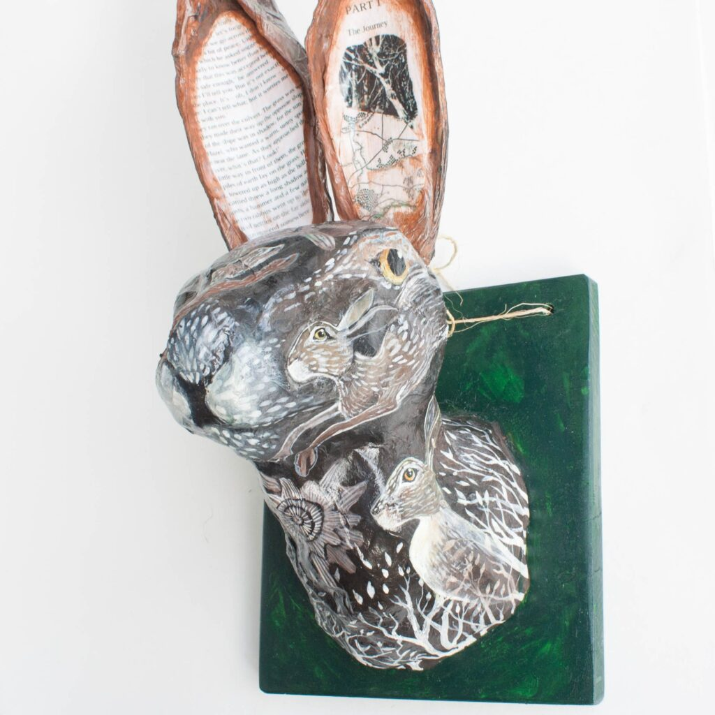 """Fiver the Rabbit"" papier mache art by Birchwood Fine Art"